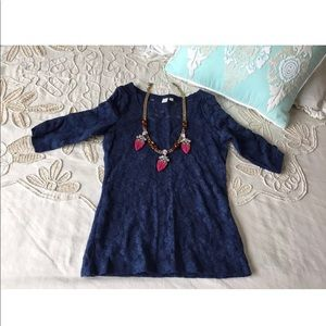 Anthropologie Eloise XS blue lace top blouse tee